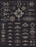 Fastställda dekorbeståndsdelar för tappning Garnering för logo som gifta sig albumnolla Royaltyfri Foto