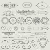 Fastställda dekorbeståndsdelar för tappning Uppsättning för teckning för gammal hand för elegans Outli royaltyfri illustrationer