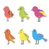 Fastställda färgfåglar stock illustrationer