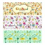 Fastställda färgrika barnbaner i tecknad filmstil Royaltyfria Foton