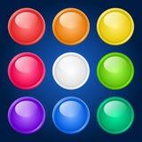 Fastställda färgrika knappar för vektor. Fotografering för Bildbyråer