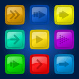 Fastställda färgrika knappar för vektor. Royaltyfri Foto