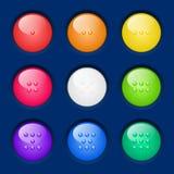 Fastställda färgrika knappar för vektor. Royaltyfria Foton