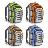 Fastställda färgrika touristic ryggsäckar för vektor stock illustrationer