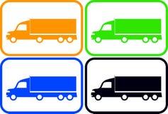 Fastställda färgrika tunga lastbilar Arkivbild