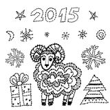 Fastställda får för symbol 2015 för nytt år, gran, snöflingor vektor illustrationer