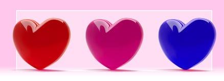 fastställda förälskelsesymboler för realistiska hjärtor 3d St-valentin bakgrund för baner för design Illustration med ett rosa, r stock illustrationer