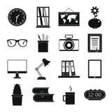 Fastställda för för konturkontor och hus för plan svart objekt Arkivfoto