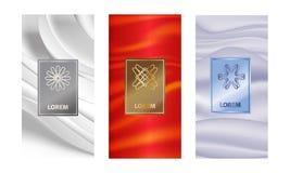 Fastställda förpackande mallar med olik textur för lyxiga produkter logodesign med moderiktig linjär stil illustration royaltyfri illustrationer
