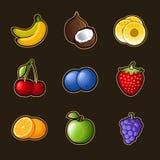 Fastställda fruktsymboler Royaltyfri Bild