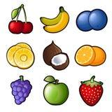 Fastställda fruktsymboler Royaltyfria Bilder
