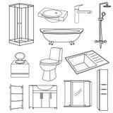 Fastställda genomskinliga översiktssymboler för badrum på en vit bakgrund vektor illustrationer