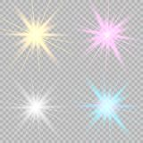 Fastställda glödande ljuseffekter stock illustrationer