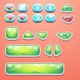 Fastställda glamorösa knappar med en reko knapp, knappar ja och inte till dataspeldesignen och rengöringsdukdesignen royaltyfri illustrationer