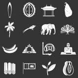 Fastställda grå färger för Sri Lanka loppsymboler stock illustrationer