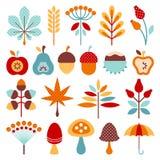 Fastställda grafiska Autumn Icons Brown Orange Blue royaltyfri illustrationer