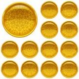 Fastställda guld- knappar med modeller royaltyfri illustrationer
