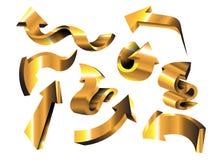 Fastställda guld- pilar Arkivfoton