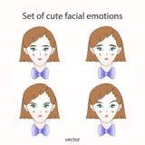 Fastställda gulliga ansikts- sinnesrörelser Arkivbild