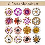 Fastställda härliga dekorativa rosettes För person som tillhör en etnisk minoritet- eller tatueringdesign Royaltyfri Foto