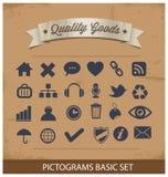 Fastställda högvärdiga och enkla pictograms Arkivfoton