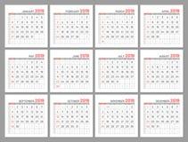 Fastställda identiska ljusa mini- kalendrar, 2019, månader, lägenhet Royaltyfria Foton