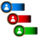 Fastställda inloggningssymboler Arkivfoton