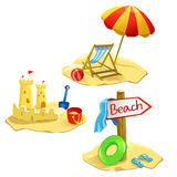 Fastställda isolerade strand- och rekreationsymboler Arkivfoto