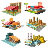 Fastställda isometriska byggnader av kafét, pizzeria, hotell, supermarket, fabrik, isolerad kärnkraftverk stock illustrationer