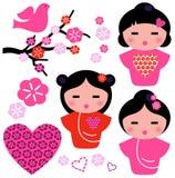 Fastställda Japan förälskelseGeisha och blom- beståndsdelar Arkivbild