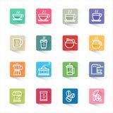 Fastställda kaffesymboler och vit bakgrund Royaltyfri Bild