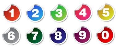 Fastställda klistermärkear för nummer Arkivfoto