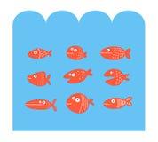 Fastställda konturer för fisk under havet Vektor Illustrationer