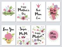 Fastställda kort för moderdag semestrar romantiska vektorillustrationhjärtor som märker blommor, lämnar filialsamlingen royaltyfri illustrationer