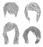Fastställda korta och medelkvinnahår den svarta blyertspennateckningen skissar stil för kvinnamodeskönhet rufsad till kaskad Arkivfoto