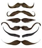 Fastställda långa lockiga olika färger för skägg och för mustasch Två dekorativa baner Realistisk 3d royaltyfri illustrationer