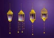 Fastställda lampor med stjärnor som hänger garnering royaltyfri illustrationer