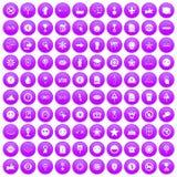 100 fastställda lilor för symbolsymboler Fotografering för Bildbyråer