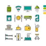 Fastställda linjära kulöra symboler för hotellservice Royaltyfri Fotografi