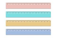 Fastställda linjaler av olika färger för skola 15 cm Vektordesignbeståndsdelar på isolerad vit bakgrund royaltyfri illustrationer