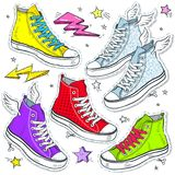 Fastställda ljusa skogymnastikskor, kulöra gymnastikskor med snör åt och stjärnor royaltyfri illustrationer
