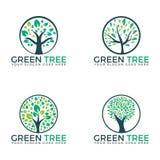 Fastställda logodesigner för abstrakta gröna träd Royaltyfria Foton