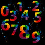 Fastställda logoer för färgrika nummer på svart bakgrund En färgstänk av stjärnor och godisen ovanför varje tecken stock illustrationer