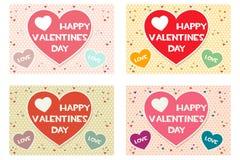Fastställda lyckliga kort för hälsning för valentindag kulöra Arkivfoton