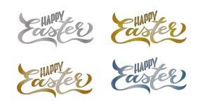 4 fastställda lyckliga påskkort: Handskriven bokstäver stock illustrationer