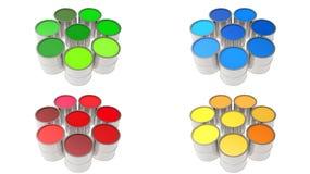 Fastställda målarfärgcans målarfärg färg Arkivbild