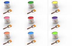 Fastställda målarfärgcans målarfärg färg Arkivfoto