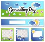 Fastställda mallar stolpe och reklamblad för den Groundhog dagen - tecknad filmklistermärkear semestrar illustrationdesign med so vektor illustrationer