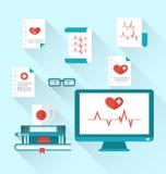 Fastställda moderna plana medicinska symboler stock illustrationer