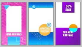 Fastställda nya ankomster Specialt erbjudande På ny ankomst royaltyfri illustrationer